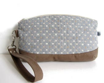 Hand clutch with removable strap, faux suede and grey blue Japanese fabric