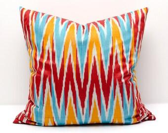 20x20 orange red ikat pillow cover, ikat pillows, ikat cushion cases, pillows, chevron pillows, zig zag pillows, decorative cushions, ikats