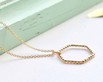 Hexagon Gold fill Necklace