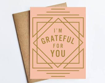 Grateful For You - NOTECARD - FREE SHIPPING!
