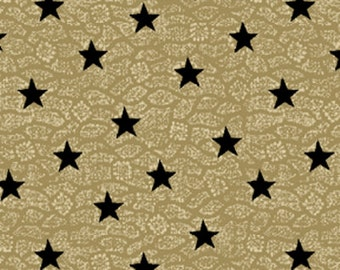 SALE!! Fat Quarter By The Sea - Nautic Star in Tan and Black - Nautical - Cotton Quilt Fabric from Benartex Fabrics (W664)