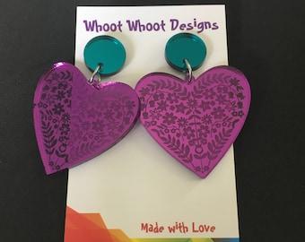 Folksy love Dangles- purple