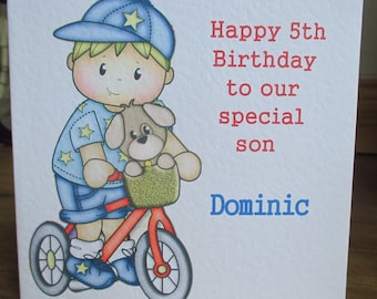Handmade Boy on Bike Bicycle Personalised Birthday Card Any Text Any Relation Any Age