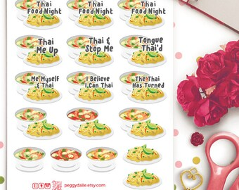 Thai Food Planner Stickers | Erin Condren | Kikki K | Filofax | Noodles | Asian Cuisine | Curry