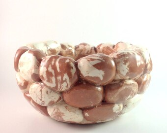 """Quirky """"Smores"""" like pottery art bowl-planter.  Funky and fun!"""