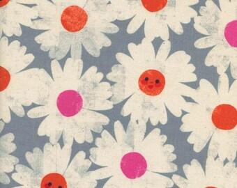 1/2 YD or 1 YARD Fabric - Cotton+Steel ~ Trinket ~ Happy Garden ~ Steel Blue