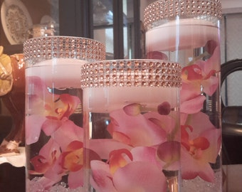 Bling Floral Floating Cylinder Vases Set of 3 with mirror-Orchids-Anniversary-Decor-Shower-