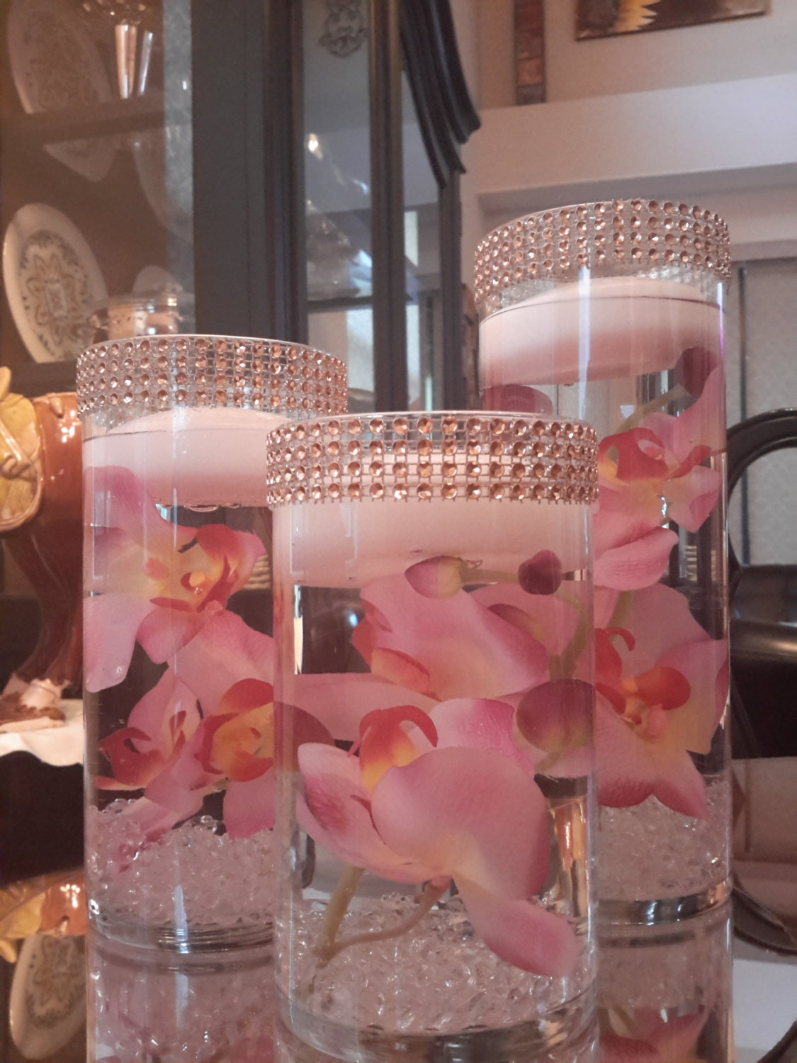 Set of 3 cylinder vases with floating candles and mirror zoom floridaeventfo Gallery