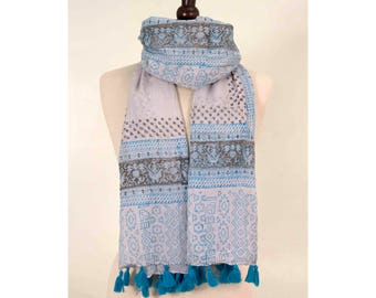 Aztec Scarf, Boho Scarf, Indian Scarf, Ethnic Scarf, Cotton Scarf, Spring Scarf, White Scarf, Women Scarf, for her, Blue Scarf, Long Scarf
