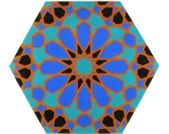 Hand Painted Moroccan Tiles - Terracotta Tiles - Made to Order - Decorative Tiles  - Backsplash Tiles - Kitchen Tiles - Ceramic Tiles