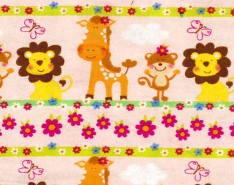 Jungle Animal Stripe Pink Snuggle Cotton Flannel Fabric - BTY