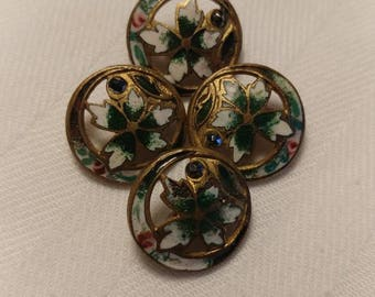 Antique Enamel Buttons -Pretty Emerald green pierced brass buttons with steel rivets  Set of 4 at 9/16th inch
