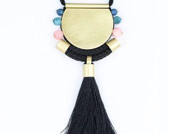 Statement brass necklace, large brass necklace, long tassel necklace, black tassel necklace, spring necklace, ethnic necklace, boho necklace