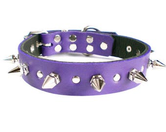"1"" Soft Purple Leather Spiked Dog Collar with Decorative Spot Rivets & Chunky Hexagonal Spikes"
