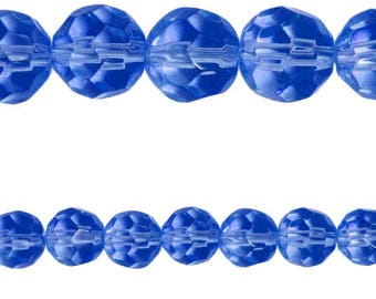 10 x round 10mm blue faceted glass beads