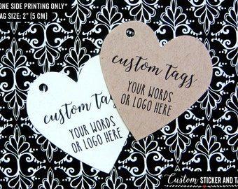 """36 custom heart tags 2"""", personalized wedding tags, party favor tags, gift tag, logo tags, product tags, hang tag (T-54)"""