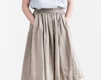 """Linen skirt """"1950s CITY"""" with deep pockets / A - line washed linen skirt in natural color / Midi linen skirt / High waist linen skirt"""