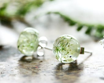 Queens Annes lace earrings, real plant jewellery, white flower, gift for her, sterling silver drop earrings, resin jewellery, bridal jewelry