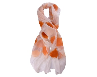 Nuno Felted Silk Scarf in White with Shades of Orange