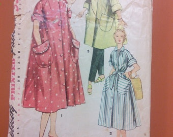 Simplicity 4471 Coat Shirt Dress Shirtdress Housecoat House Coat Robe Sleep Vintage Sewing Pattern 1950s 50s Size 12