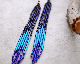 Purple Rain // Shoulder Duster // Long Fringe // Native American Beaded Earrings // Boho