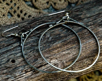 Hand Hammered Metal Hoop Earrings with Wire Wrapping, 1 3/4 Inch Diameter, Arts & Crafts Design, Oriental Inspiration, Form Follows Function