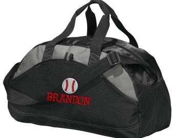 Personalized Baseball Player Duffel Gym Bag - Embroidered. Baseball Player Duffle Gym Bag. Personalized Baseball Gym Bag. SM-BG1070