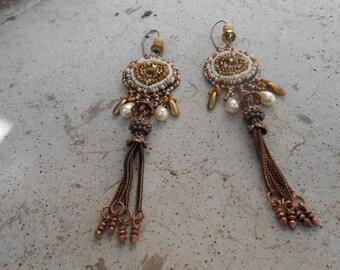 "Embroidered ""Caramel"" beaded earrings"