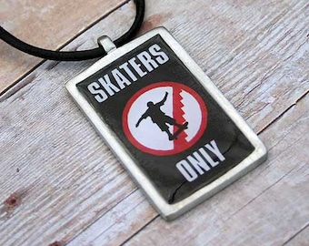Leather Surfer Necklace Choker With Pewter Dog Tag Skaters Only