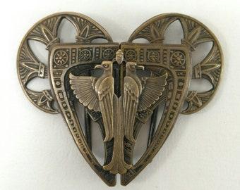 Egyptian motif belt buckle, falcon belt buckle, art deco belt buckle, Horus belt buckle