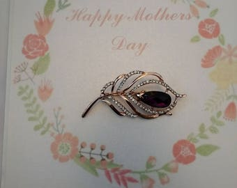 Handmade Mother's Day Card with Brooch. Removable Brooch Card. Mother's Day Gift Card