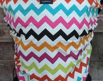 Organic Cotton Baby Wrap Sling Carrier-Rainbow Chevron on Black-DvD Included-One Size Fits All
