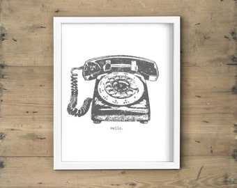 Charcoal gray and white rotary phone print - Retro vintage telephone printable art, poster, wall decor, illustration - 8x10 DIY framed art