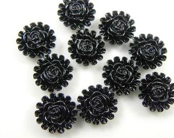 13mm Black Ruffled Flower Lucite Cabochons - 10 pcs