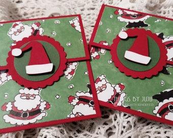 Santa Claus Christmas Card Holder Santa Gift Card Secret Santa Gift Christmas Gift Co Worker Gift Stocking Stuffer Money Holder Handmade