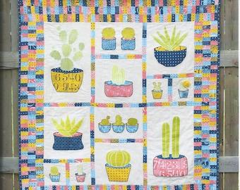 Cactus Quilt Pattern, Kaktos Quilt Pattern, Domestic Strata, Cactus Applique Quilt Pattern, Modern Quilt Pattern, Applique Quilt, 23002