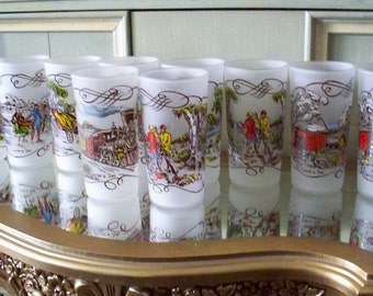MID CENTURY BARWARE Frosted Satin Glass Set of 10 Currier and Ives Tumbler by Hazel Atlas Locomotive Steam Paddle Boat Hunting