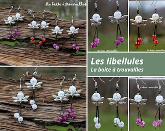 """Earrings """"Dragonflies"""" rock crystal (color choices)"""