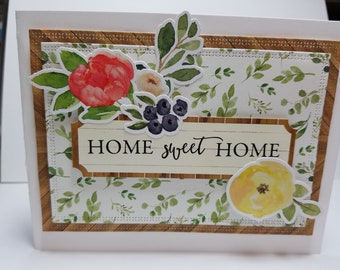 Handmade All Occasion Card, Home Sweet Home, Flowers