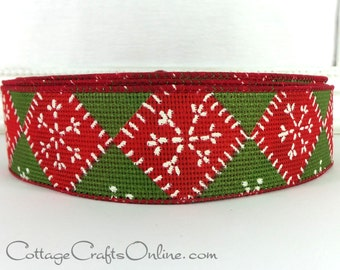 "Christmas Wired Ribbon, 1 1/2"", Red, Green Diamond, White Snowflake - THREE YARDS - ""Needlepoint Snowflake"" Wire Edged Ribbon"