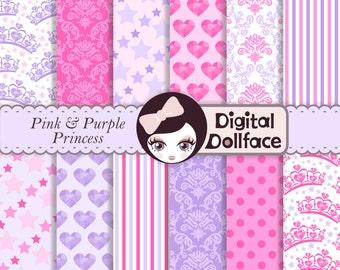 Pink and Purple Digital Paper, Girl, Princess Scrapbook Paper Pack