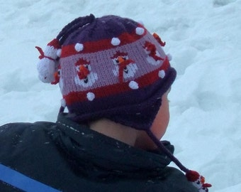 Children's  Purple Snowman hat with earflaps
