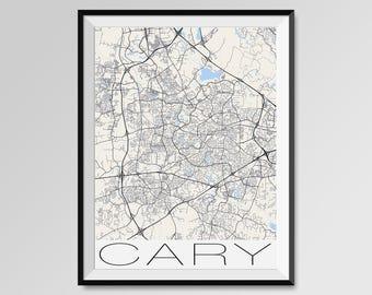 CARY North Carolina Map, Cary City Map Print, Cary Map Poster, Cary Wall Map Art, Cary gift, Custom city maps, Personalized maps, Carolina