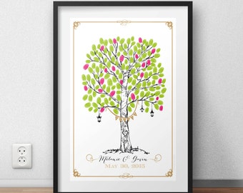 Displayed prints of marriage tree of love
