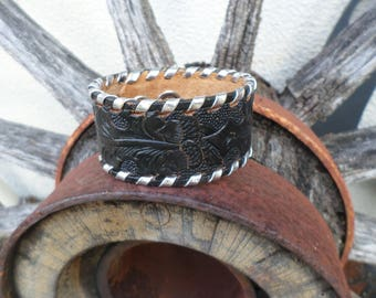 Rustic Western Black Tooled Leather Cuff Bracelet with Silver Lacing, Boho Cuff, Western Cuff