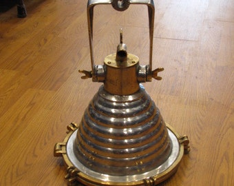 Vintage Brass and Aluminim Hanging Deck Light- Refurbished, Rewired and Ready for use - Ship Salvaged