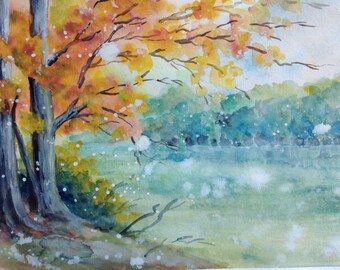 Lakeview, Lakeview painting, Wall Decor, Wall Art, Original watercolor painting