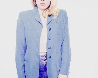 Vintage 80's ladies Electric Blue Blazer jacket Uk size 8