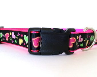 Valentines Day Neon Pink and Black Dog Collar - Adjustable, Hearts, Love