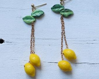 Lemon Tree Earrings ... Yellow Vintage Glass Fruit Tropical Neon